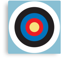 Bulls Eye, Right on Target, Roundel, Archery, on Blue Canvas Print