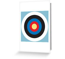 Bulls Eye, Right on Target, Roundel, Archery, on Blue Greeting Card