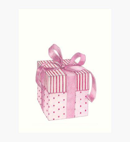 Pink Gift Box Art Print