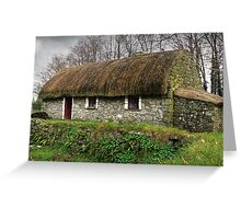 Old tatched Irish country famine cottage Greeting Card