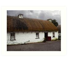Old tatched and whitewashed Irish country cottage Art Print