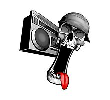 Skull With Boombox Photographic Print