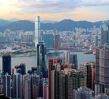HK Panorama at Sunset II - Hong Kong. by Tiffany Lenoir
