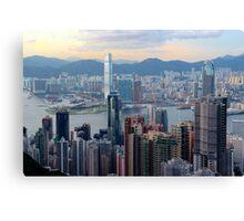 HK Panorama at Sunset II - Hong Kong. Canvas Print