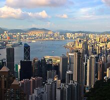 HK Panorama at Sunset III - Hong Kong. by Tiffany Lenoir