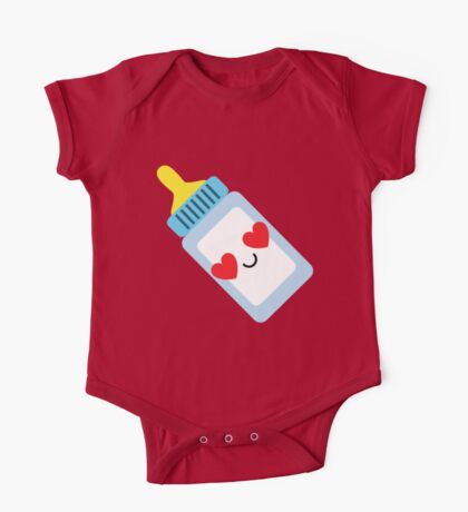 Milk Bottle Emoji Heart and Love Eye One Piece - Short Sleeve