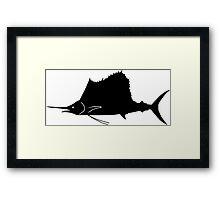 Sailfish Fish Silhouette (Black) Framed Print