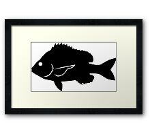 Sheepshead Fish Silhouette (Black) Framed Print