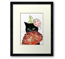 The Fan Cat Art White Background Framed Print