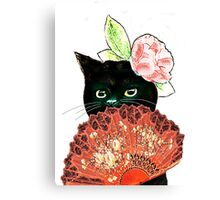 The Fan Cat Art White Background Canvas Print