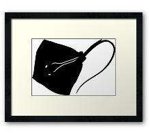 Stingray Fish Silhouette (Black) Framed Print
