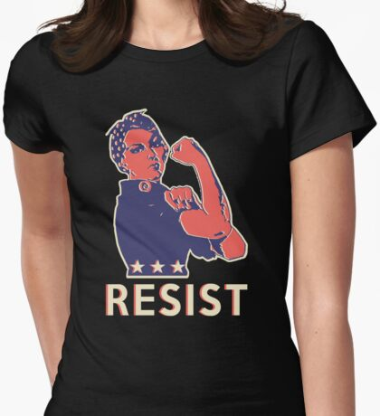 Resist and Keep Marching with Rosie the Riveter Womens Fitted T-Shirt