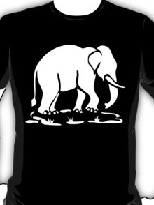White Asian Elephants Ahead / Thai Elephant Trekking Traffic Sign T-Shirt