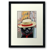 Venetian Gondolier Cat Art Framed Print