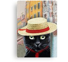 Venetian Gondolier Cat Art Canvas Print