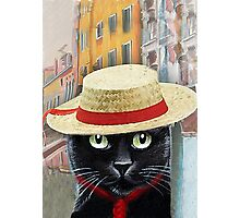 Venetian Gondolier Cat Art Photographic Print
