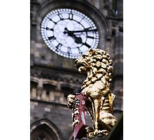 Clock and Lion Photographic Print