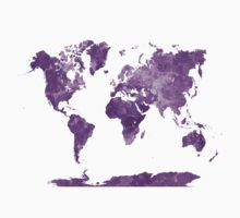 World map in watercolor purple Kids Clothes