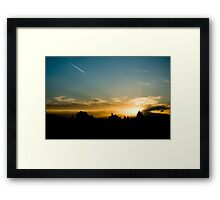 Sunset - Lonely contrail Framed Print