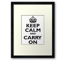 Keep Calm & Carry On, Be British! Blighty, UK, United Kingdom, Black on white Framed Print