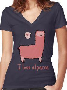 I Love Alpacas Women's Fitted V-Neck T-Shirt