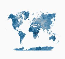 World map in watercolor blue Kids Clothes