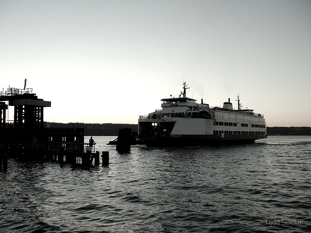 Ferry at Dock (B&W) by Todd Sinclair