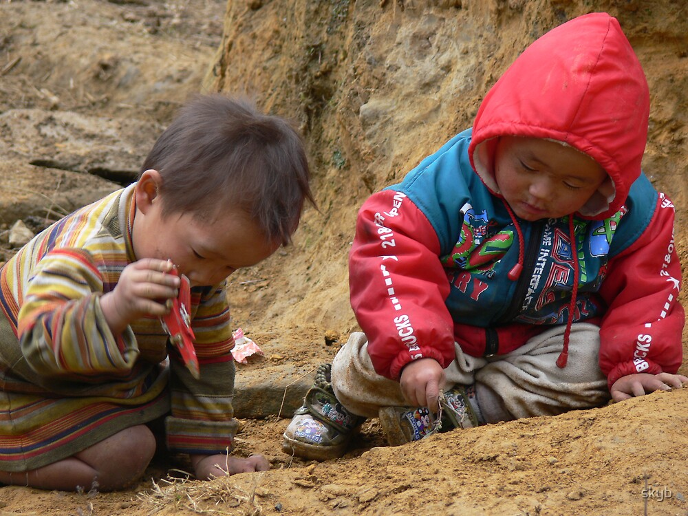 Sapa Children Playing by skyb