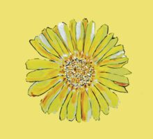 Bright and big yellow flower One Piece - Short Sleeve