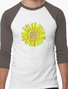 Bright and big yellow flower Men's Baseball ¾ T-Shirt