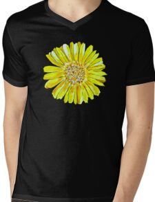 Bright and big yellow flower Mens V-Neck T-Shirt