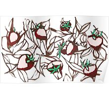 Strawberries and tea leaves Poster