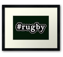 Rugby - Hashtag - Black & White Framed Print