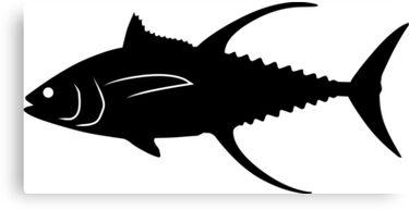 """Yellowfin Tuna Fish Silhouette (Black)"" Canvas Prints by ..."