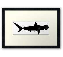 Hammerhead Shark Silhouette (Black) Framed Print