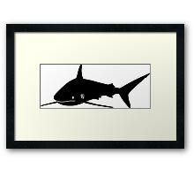 Silky Shark Silhouette (Black) Framed Print