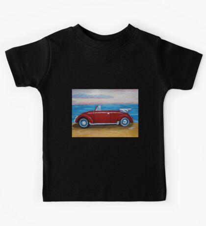 red VW bug with sea Kids Tee