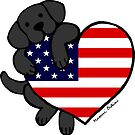 Black Labrador Holding Stars and Stripes Heart by HappyLabradors