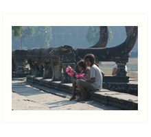 Girls at Angkor Wat temple Art Print
