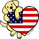 Yellow Labrador Holding Stars and Stripes Heart by HappyLabradors