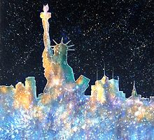 New York - Liberty and Skyline  by bill holkham