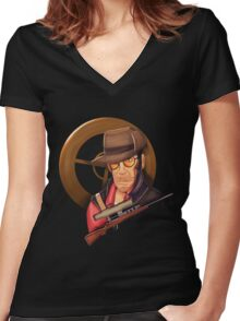 Tf2 Sniper Women's Fitted V-Neck T-Shirt
