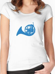 Blue French horn Women's Fitted Scoop T-Shirt