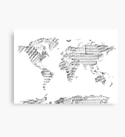 world map music notes Canvas Print