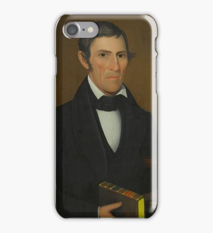 Attributed to Ammi Phillips () PORTRAIT OF A GENTLEMAN HOLDING A BOOK OF WESLEY'S SERMONS AND SITTING IN A PAINT-DECORATED CHAIR iPhone Case/Skin