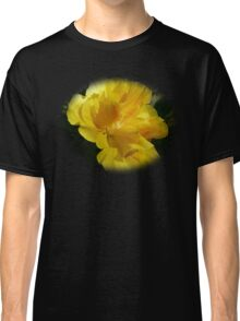 Beautiful double yellow hibiscus on black Classic T-Shirt