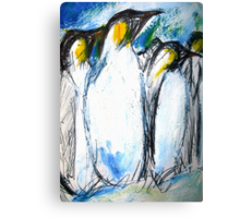 Penguins Acrylics And Ink Canvas Print