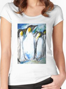 Penguins Acrylics And Ink Women's Fitted Scoop T-Shirt