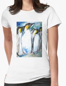 Penguins Acrylics And Ink Womens Fitted T-Shirt