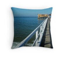Sunny Day, Queenscliff Pier Throw Pillow